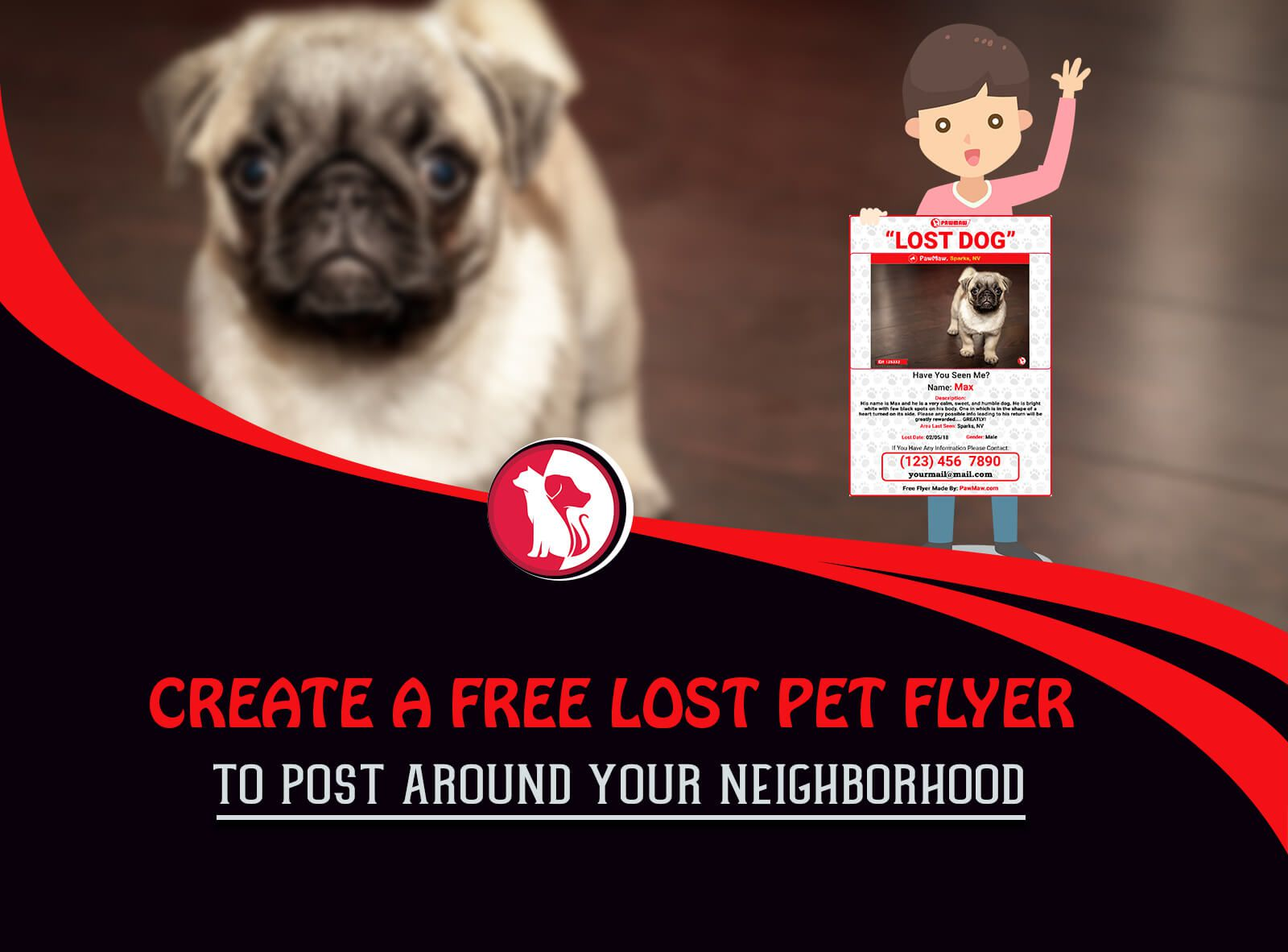 001 Beautiful Lost Dog Flyer Template High Def  Free PetFull