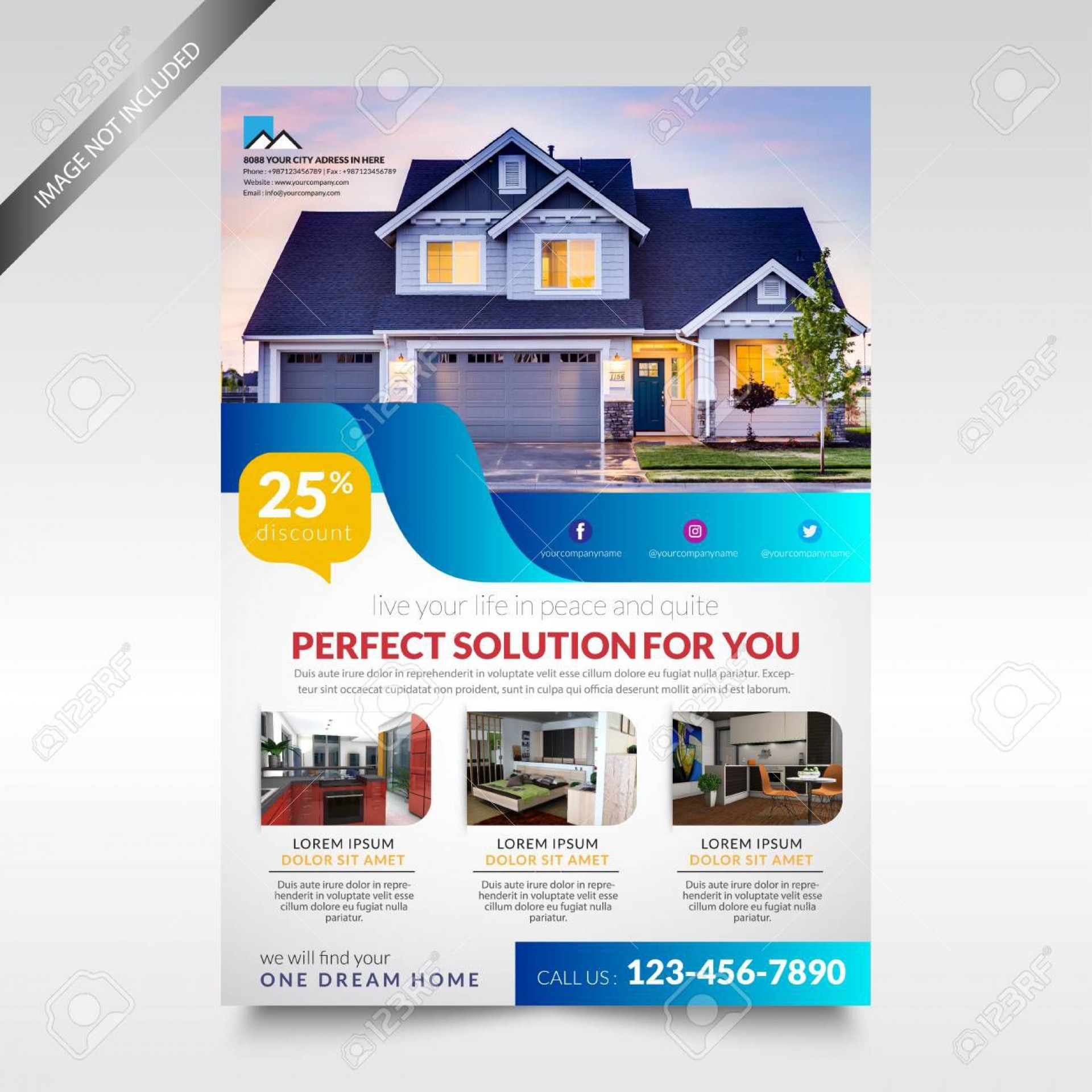 001 Beautiful Real Estate Flyer Template High Definition  Publisher Word Free1920