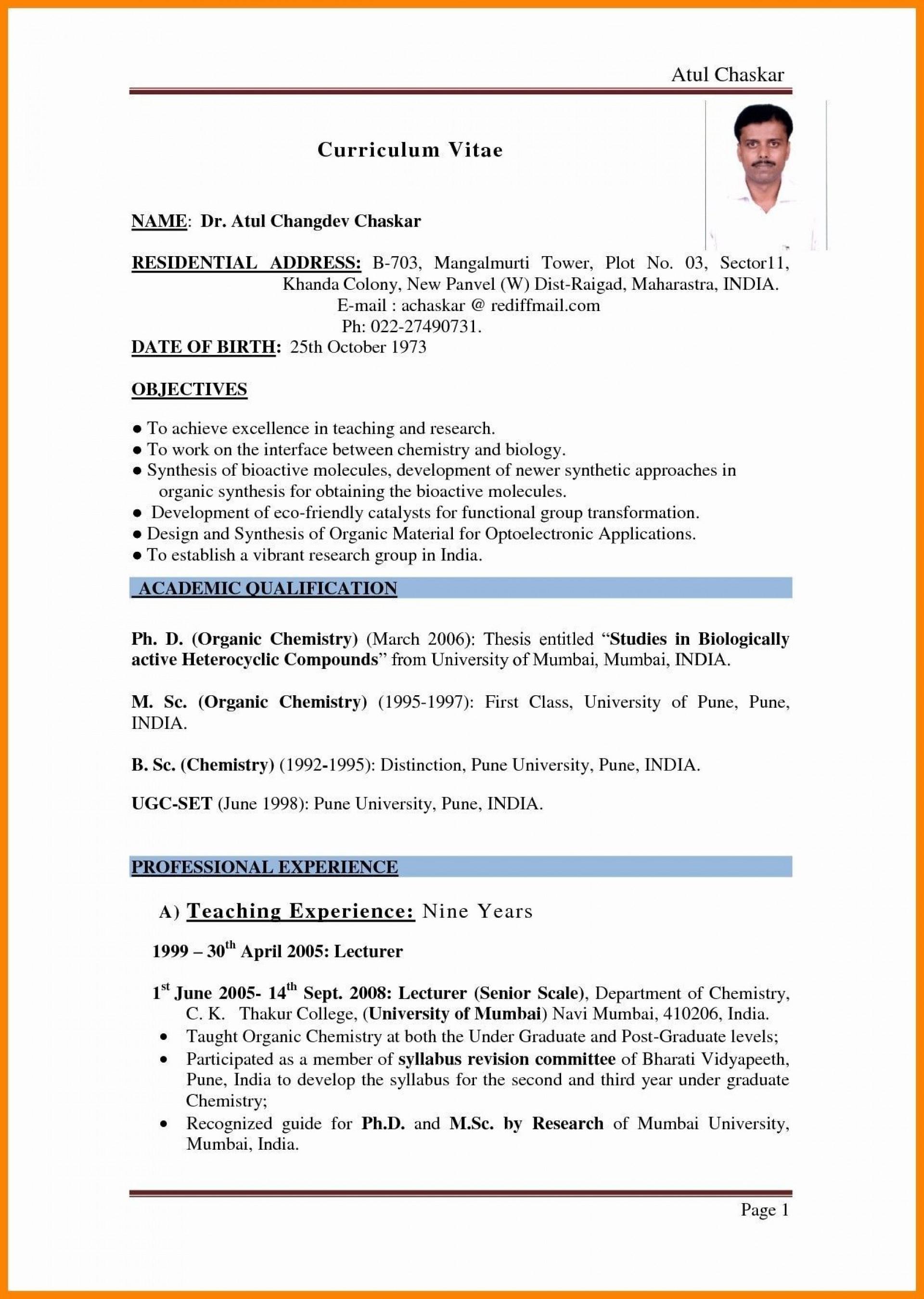 001 Beautiful Resume Sample For Teaching Job In India Image  School Principal Position1920