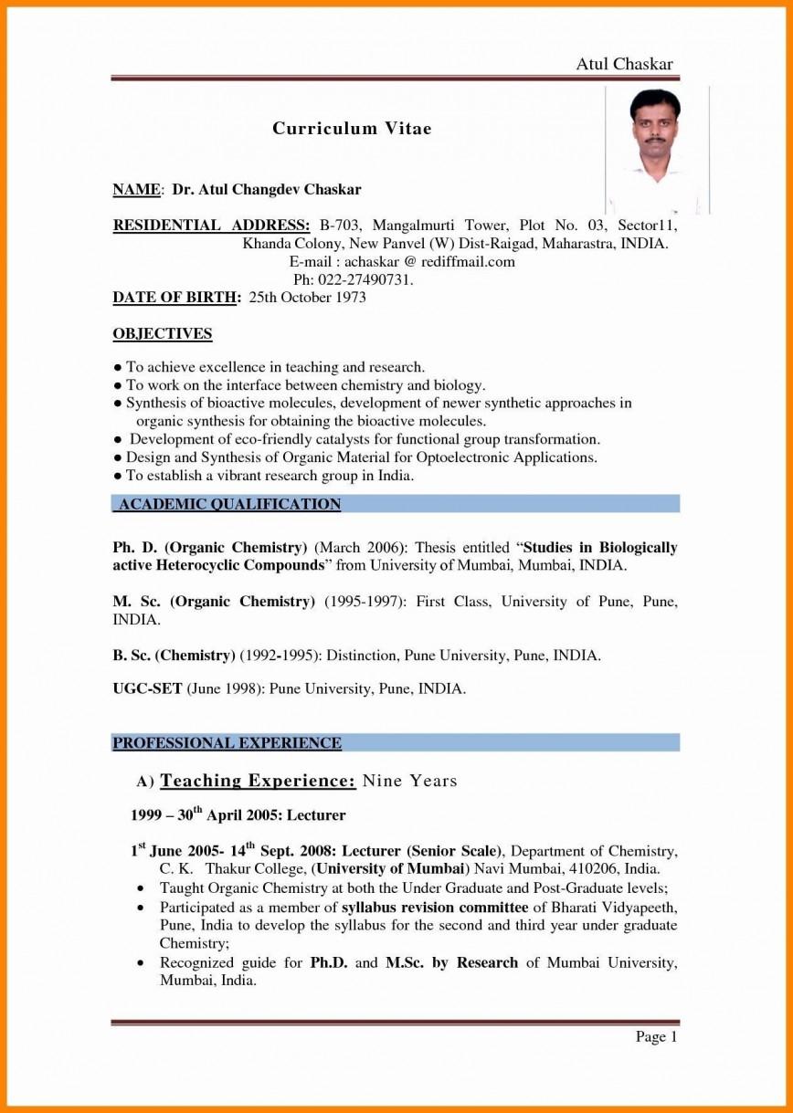 001 Beautiful Resume Sample For Teaching Job In India Image  Fresher
