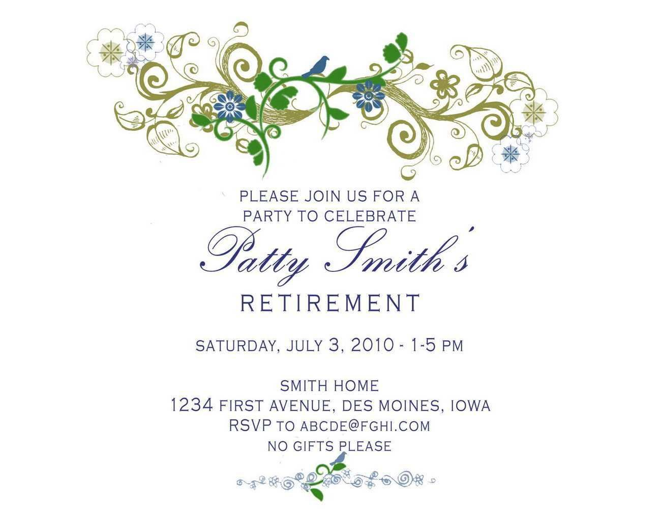 001 Beautiful Retirement Party Invite Template Example  Invitation Online M Word FreeFull