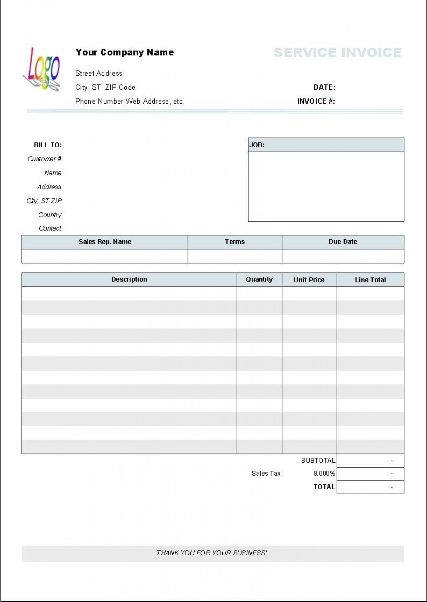 001 Beautiful Service Invoice Template Free Image  Rendered Word Auto Download1400
