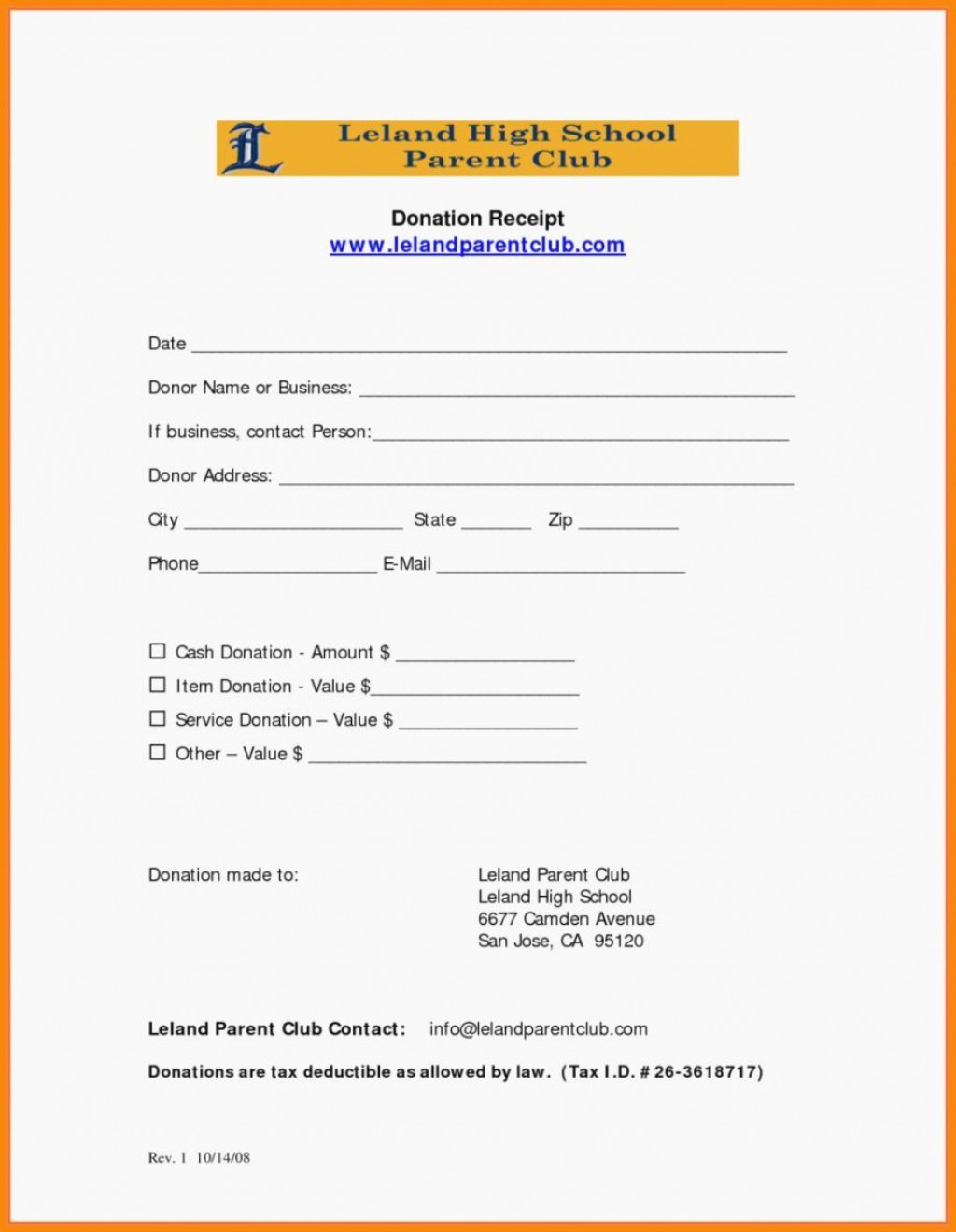 001 Beautiful Tax Deductible Donation Receipt Printable High Resolution Large