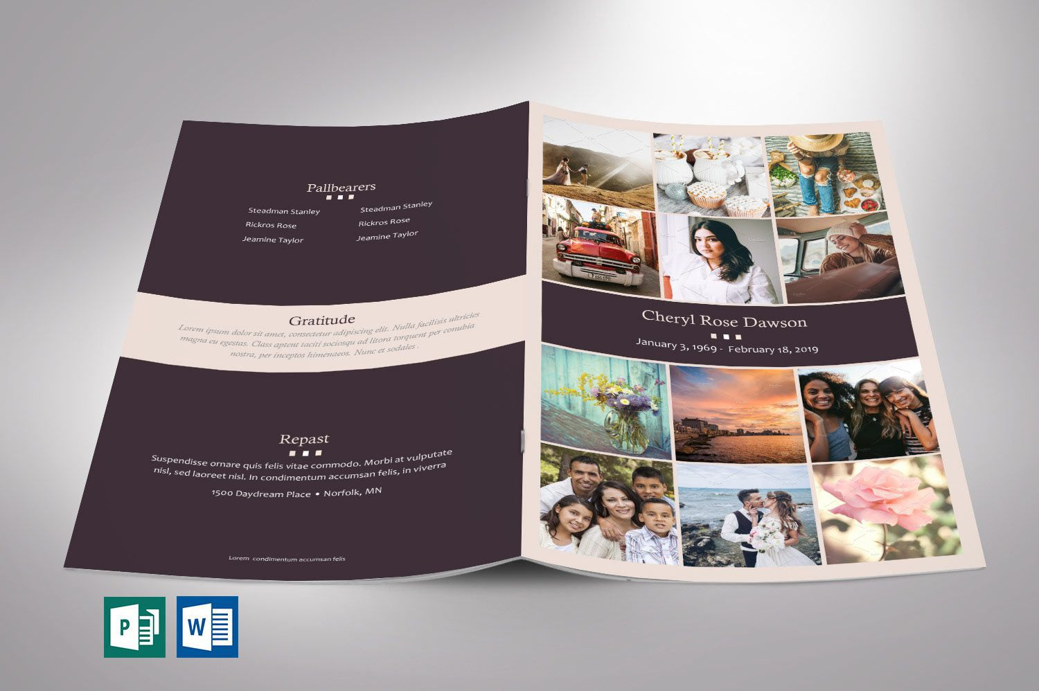 001 Beautiful Template For Funeral Program Publisher Concept Full