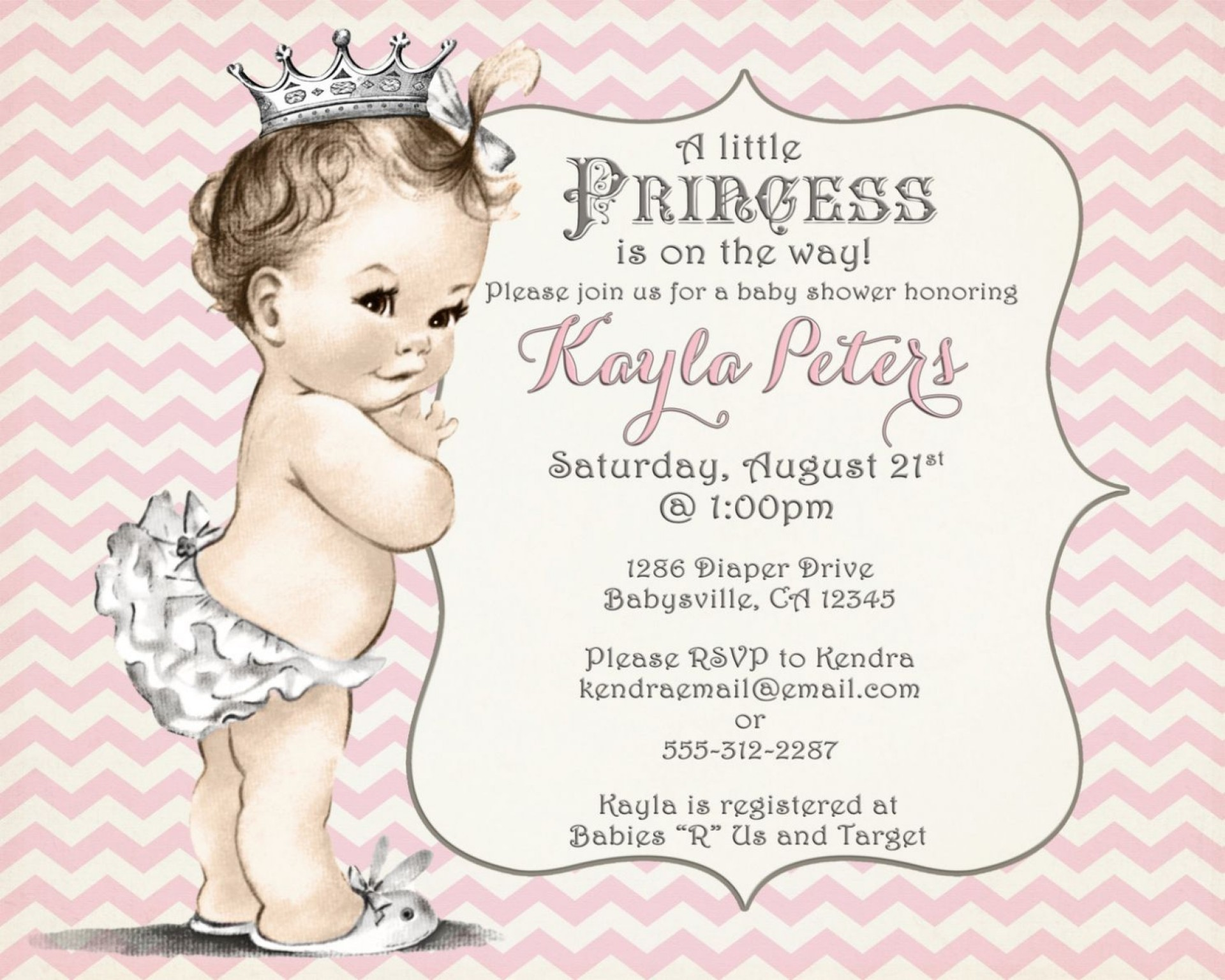 001 Best Baby Shower Invitation Girl Princes Picture  Princess Theme1920