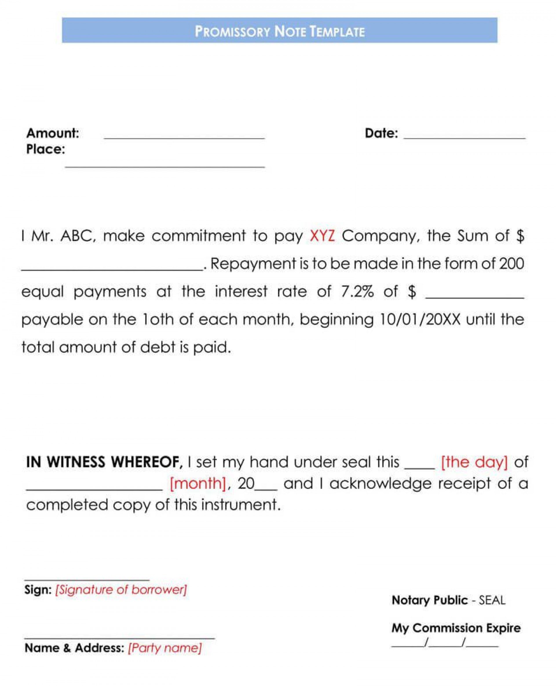 001 Best Blank Promissory Note Template Sample  Form Free Download1920