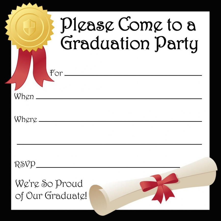 001 Best Free Printable Graduation Invitation Template Inspiration  Preschool Card 2019868