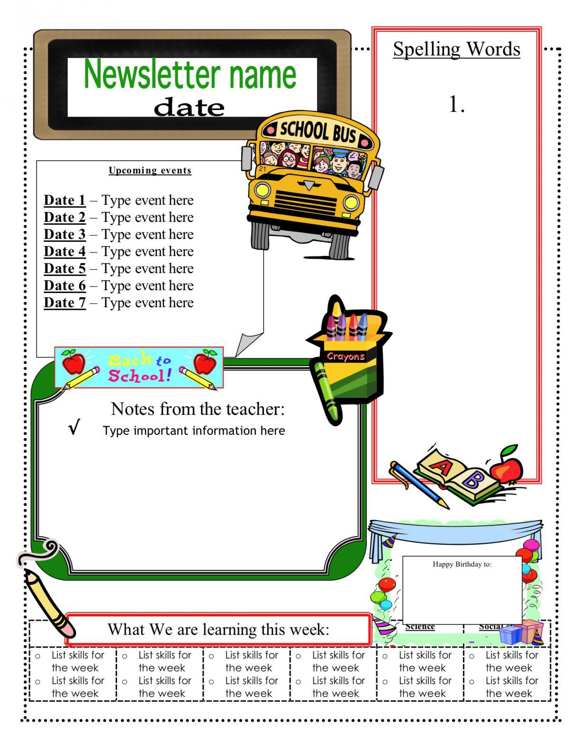 001 Best Newsletter Template For Teacher Sample  Teachers To Parent Printable Free School1920