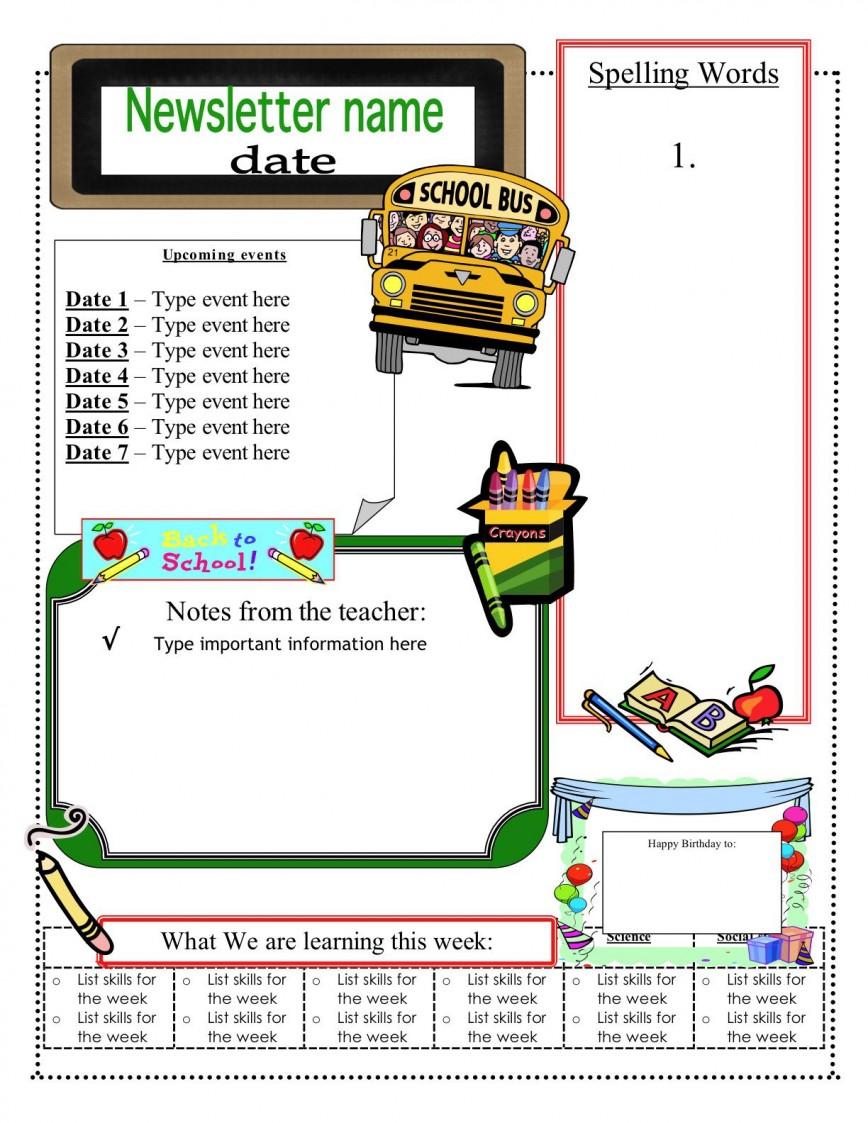 001 Best Newsletter Template For Teacher Sample  Teachers To Parent Kindergarten Elementary
