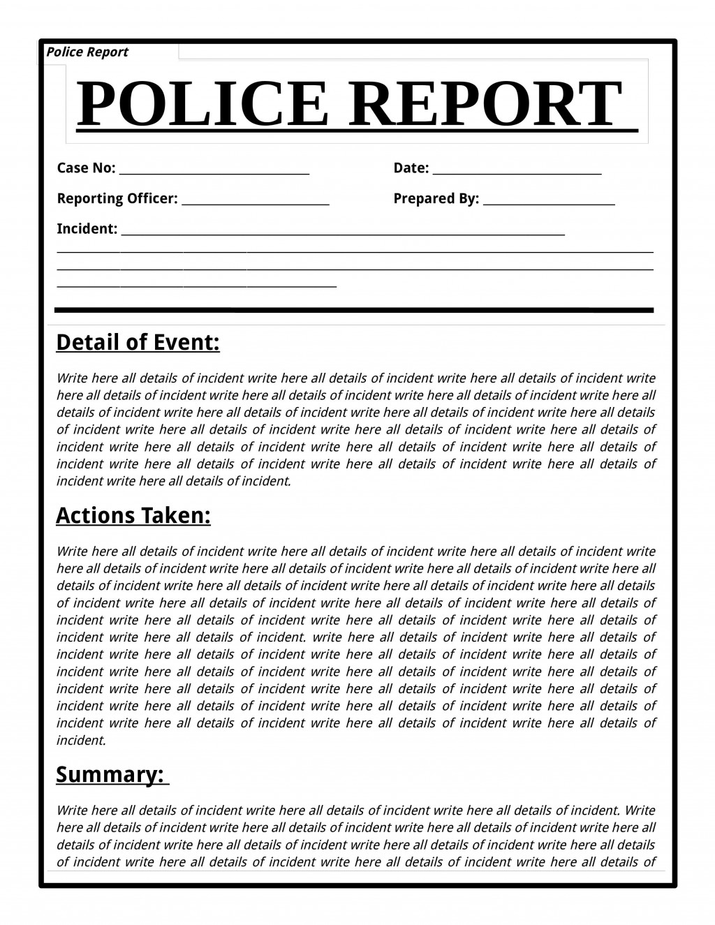001 Best Police Report Template Microsoft Word Idea Large