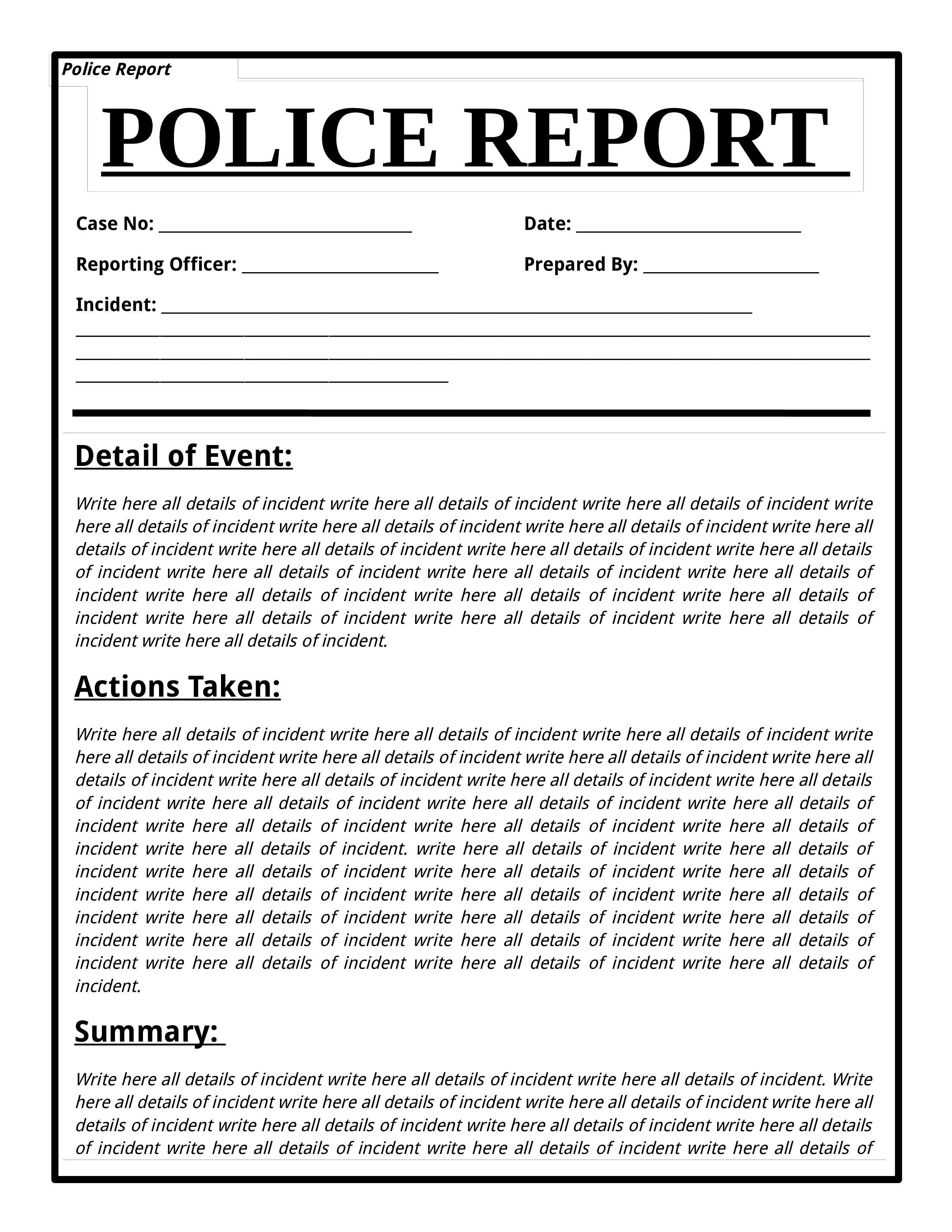 001 Best Police Report Template Microsoft Word Idea Full