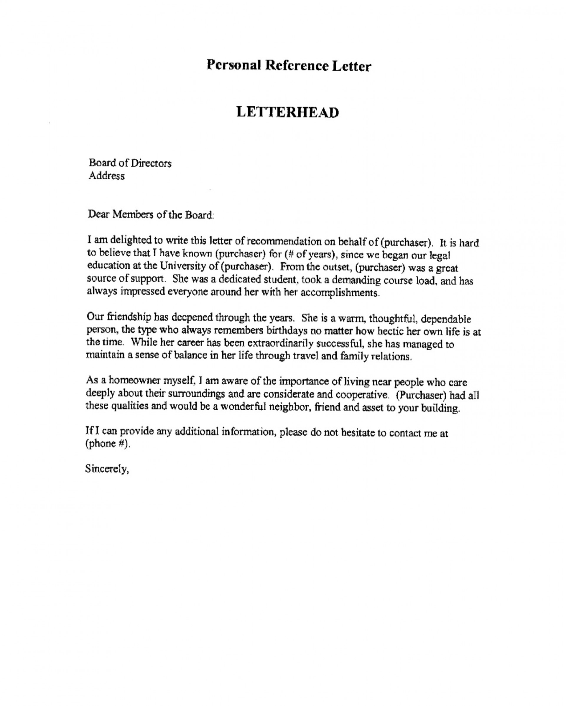Professional Reference Letter Template Addictionary