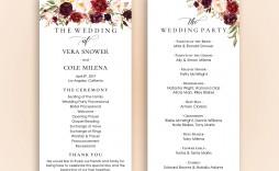 001 Best Wedding Program Template Free Concept  Fan Download Elegant