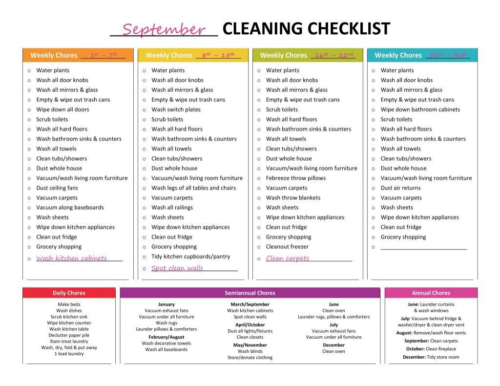 001 Best Weekly Cleaning Schedule Template Photo  Word Example House ChecklistLarge