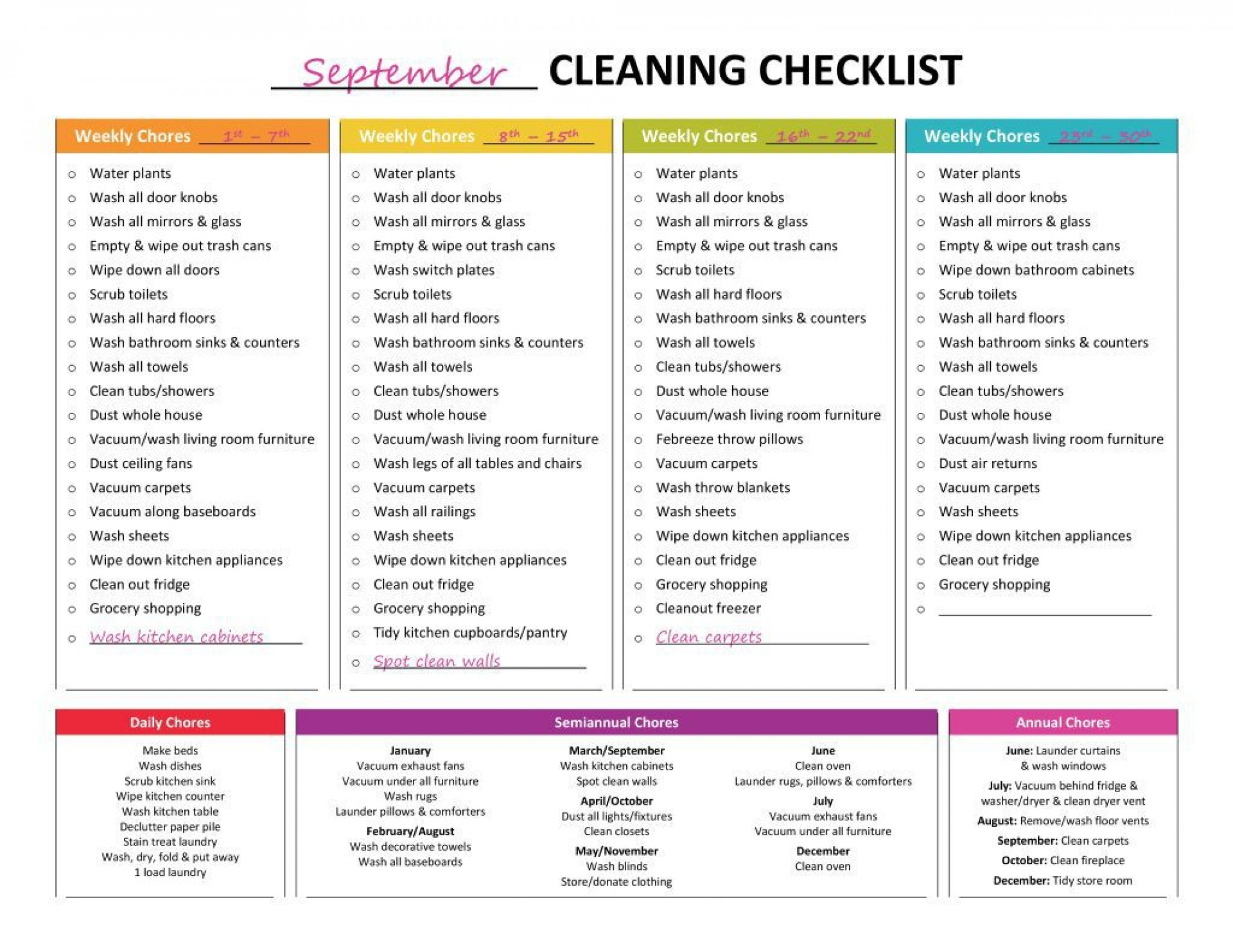 001 Best Weekly Cleaning Schedule Template Photo  Word Example House Checklist1920