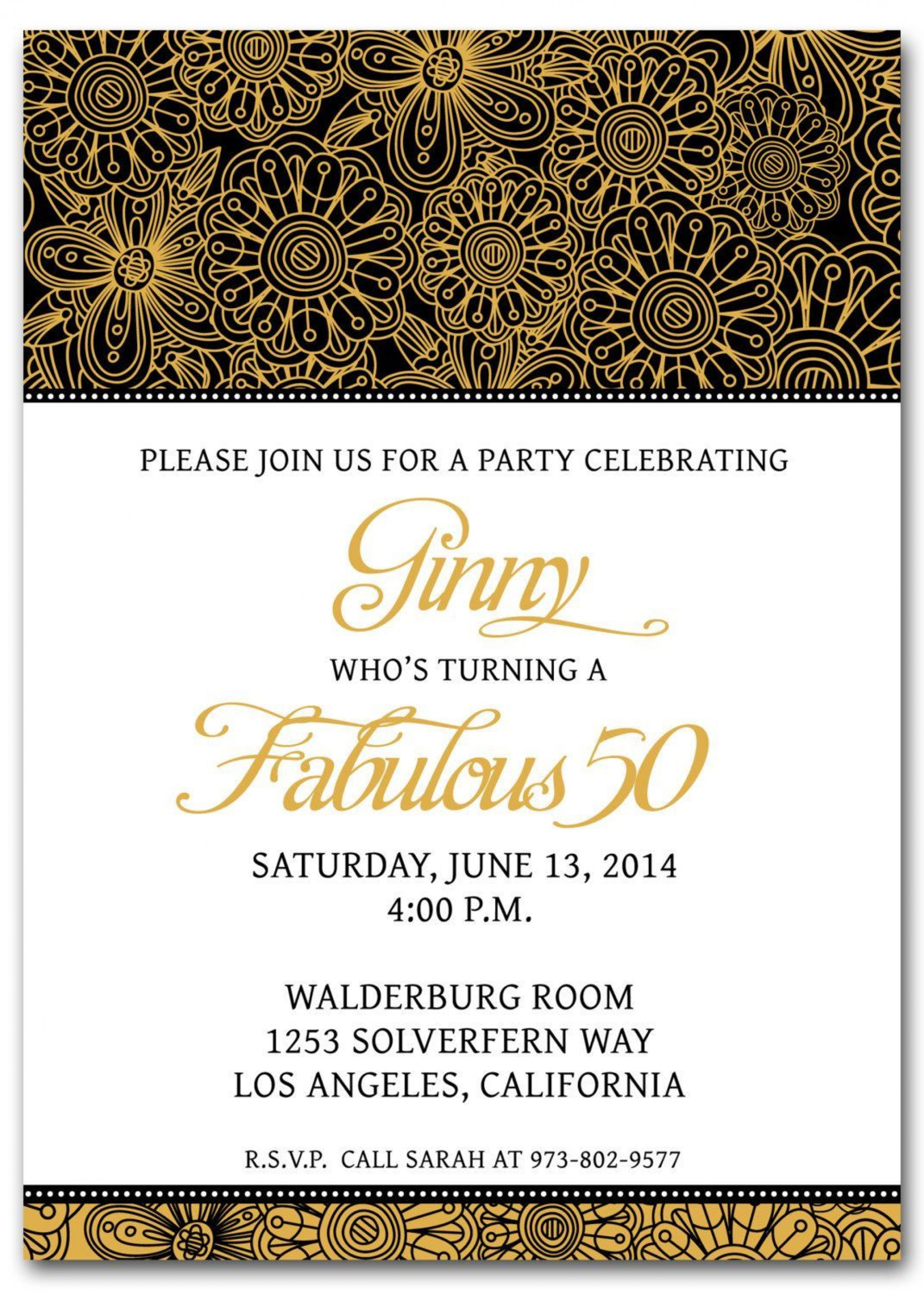 001 Breathtaking 50th Anniversary Invitation Template Free Download Highest Quality  Golden Wedding1920