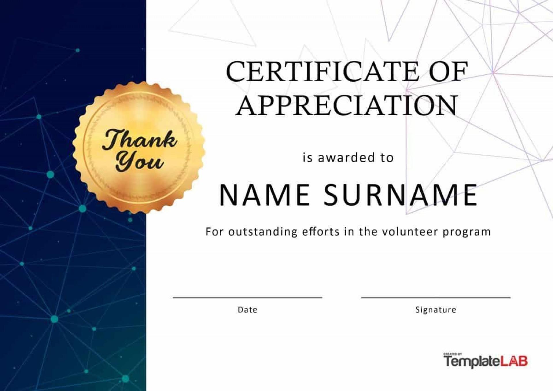 001 Breathtaking Certificate Of Appreciation Template Free Design  Microsoft Word Download Publisher Editable1920