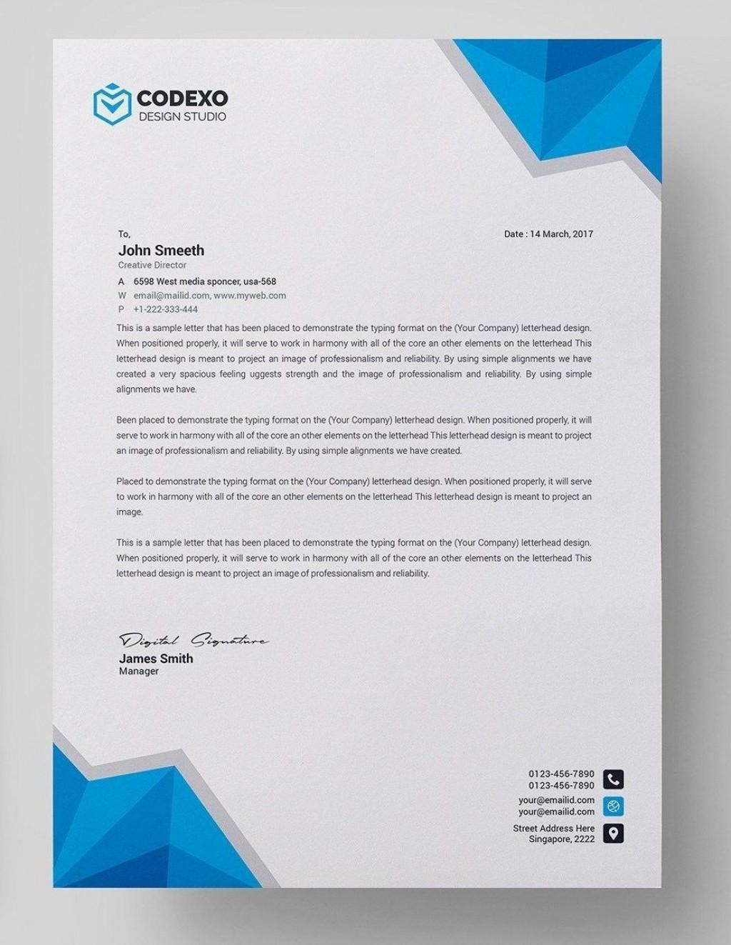 001 Breathtaking Free Company Letterhead Template Idea  Online Psd Download Word 2007Large
