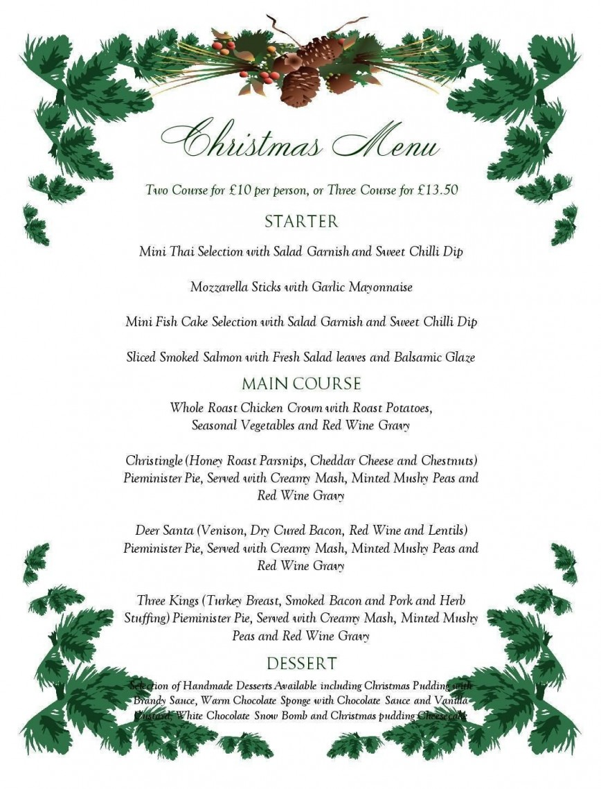 001 Breathtaking Free Printable Menu Template Concept  Weekly Dinner Christma For Party