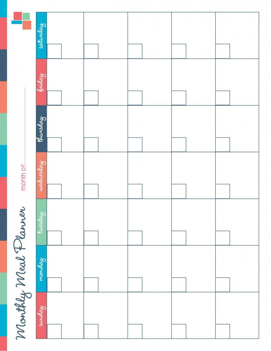 001 Breathtaking Meal Plan Calendar Template Highest Clarity  Excel Monthly