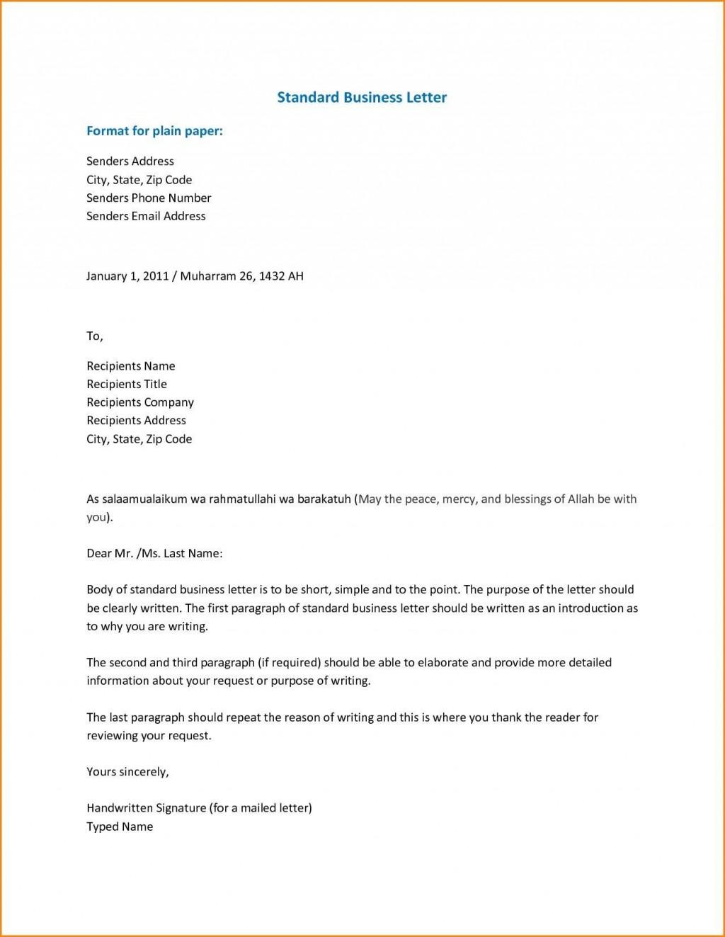 001 Breathtaking Sample Busines Letter Template Inspiration  Of Intent Formal FreeLarge
