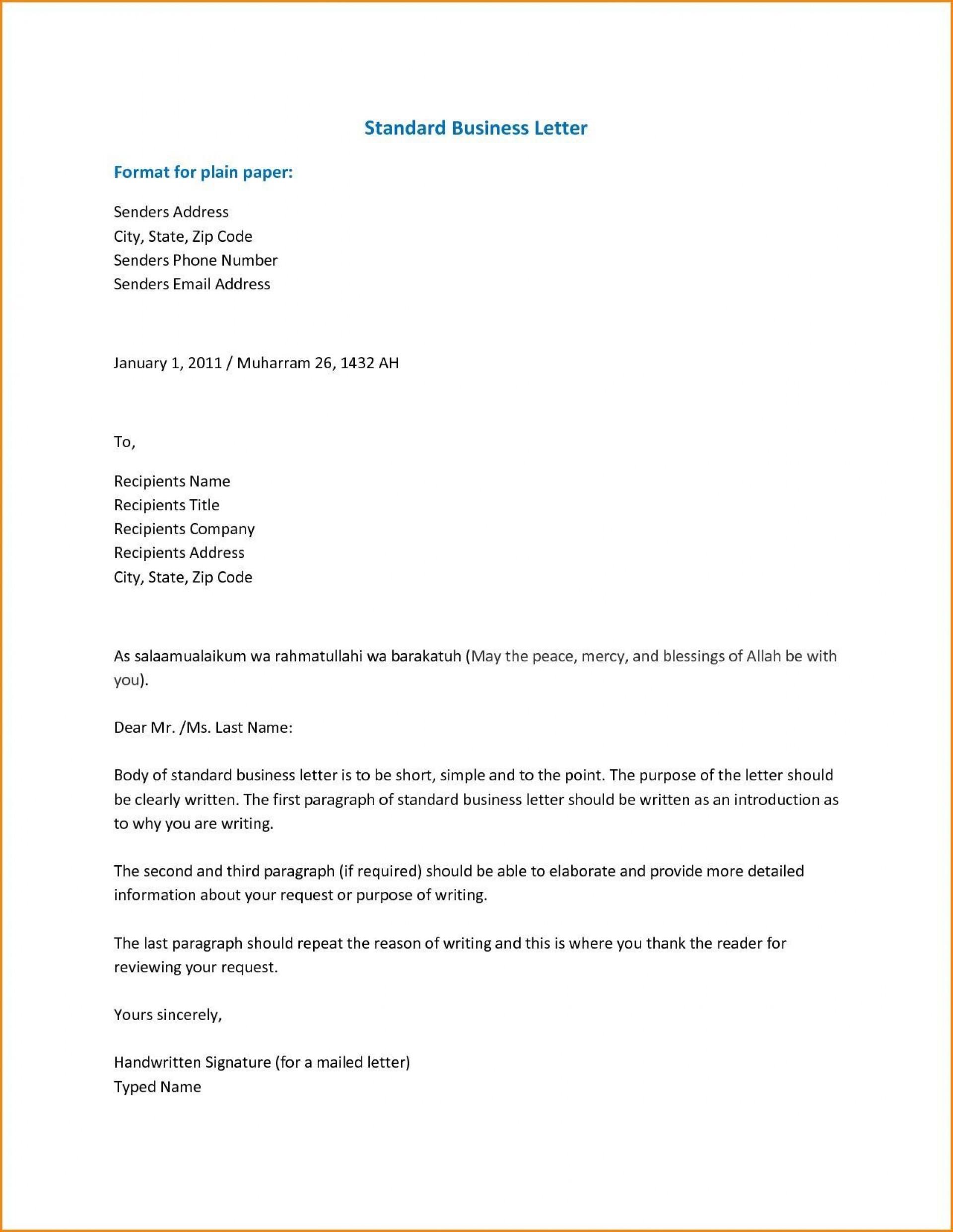 001 Breathtaking Sample Busines Letter Template Inspiration  Of Intent Formal Free1920
