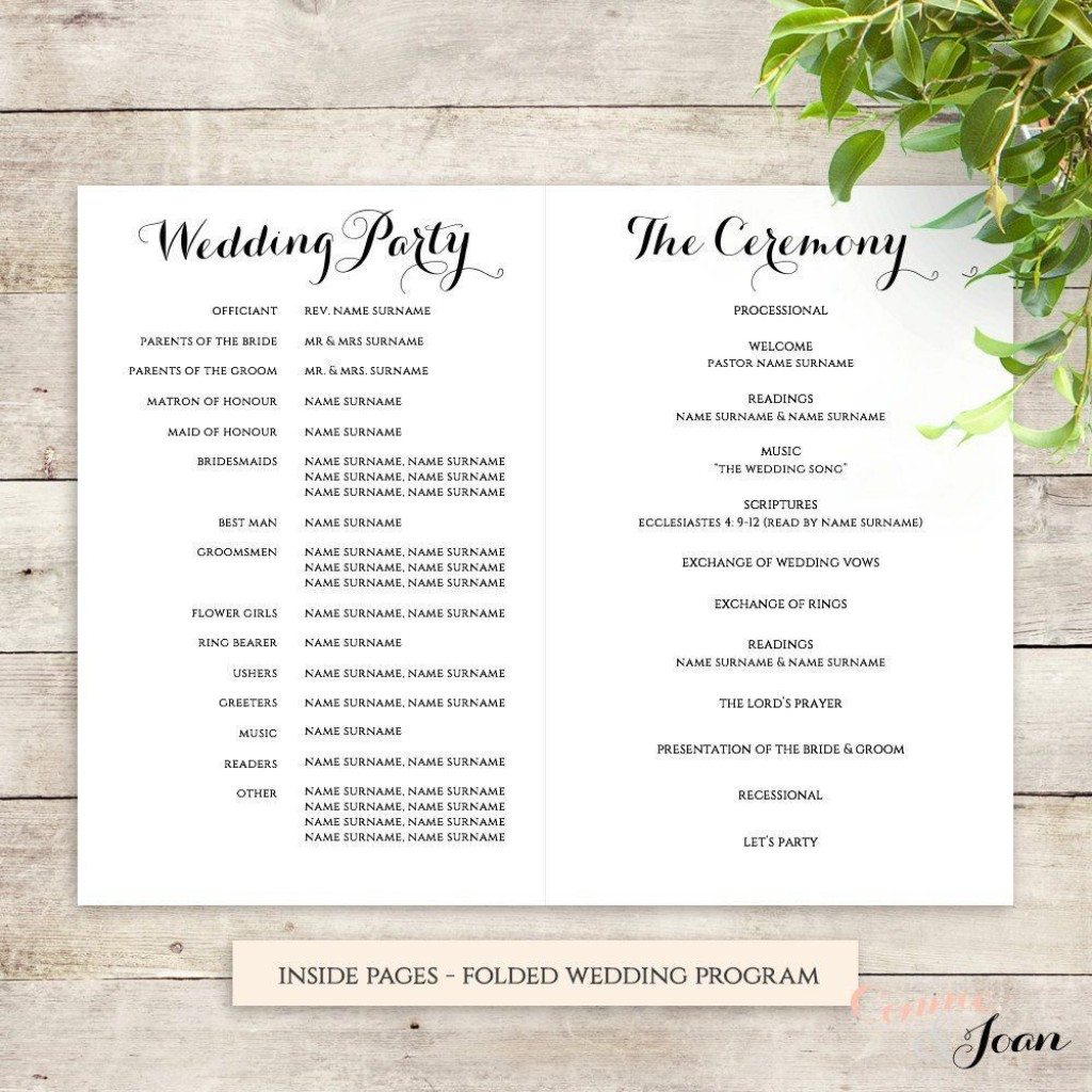 001 Breathtaking Wedding Order Of Service Template Highest Quality  Church Free Microsoft Word DownloadLarge