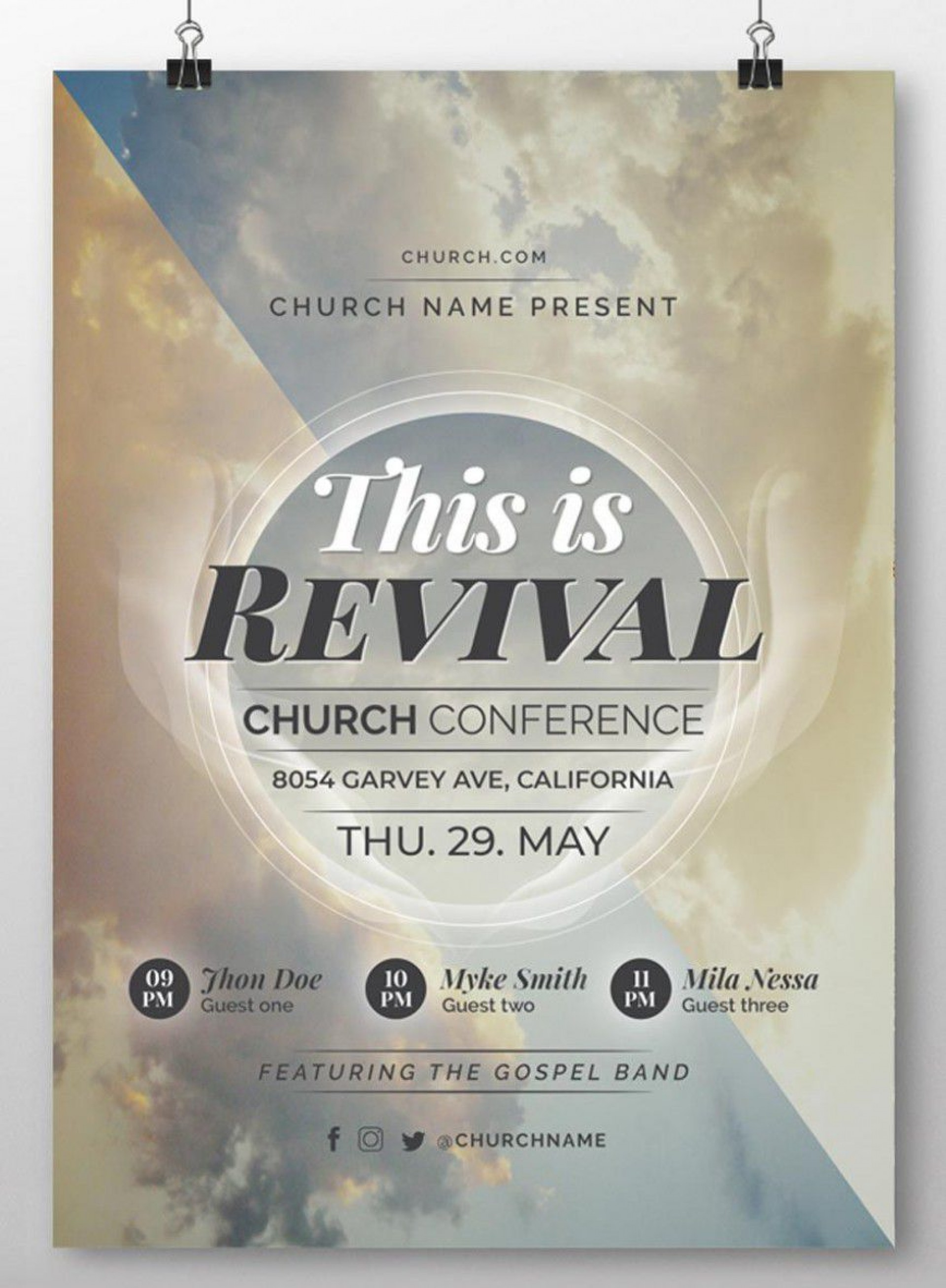 001 Dreaded Church Flyer Template Free Photo  Easter Anniversary Conference Psd1920