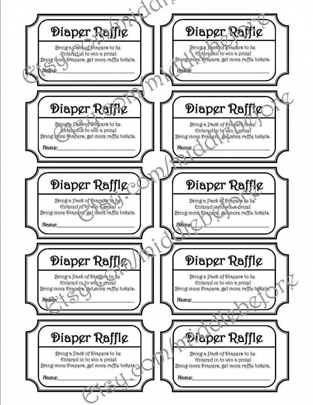 001 Dreaded Diaper Raffle Ticket Template High Resolution  Boy Free Printable Print Black And WhiteLarge