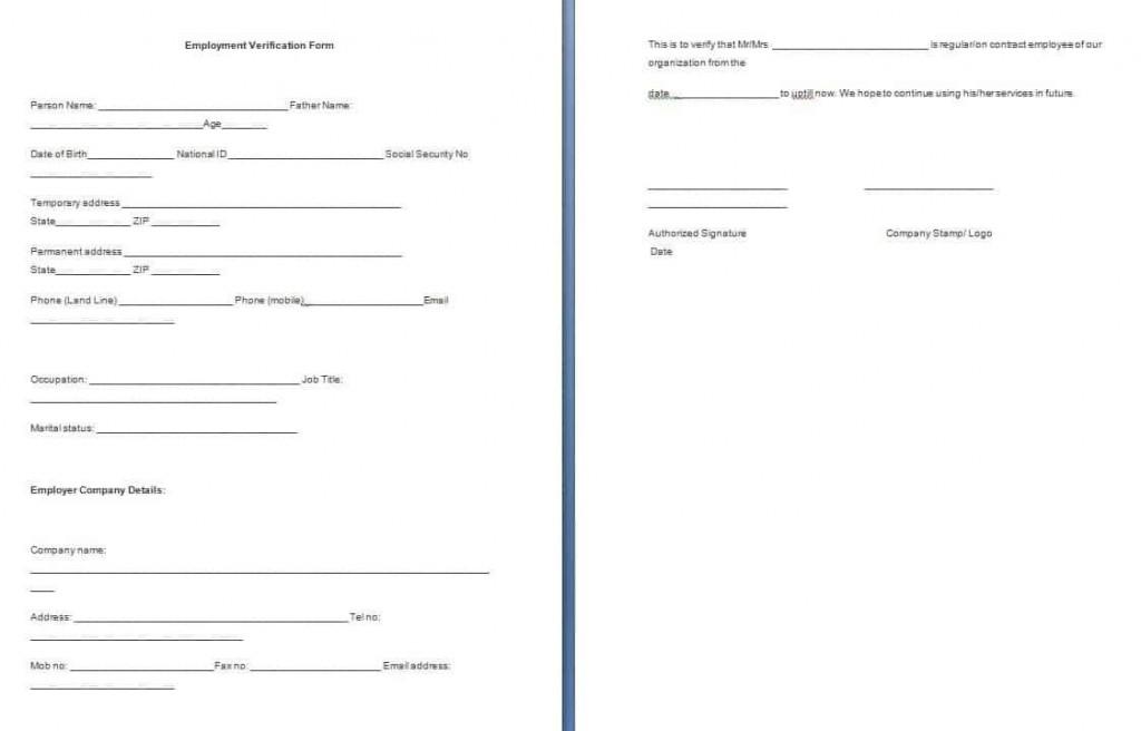 001 Dreaded Employment Verification Form Template Example  Templates Previou Past PrintableLarge