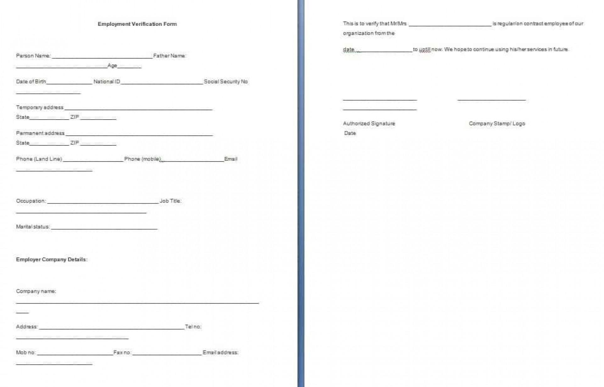 001 Dreaded Employment Verification Form Template Example  Templates Previou Past Printable1920