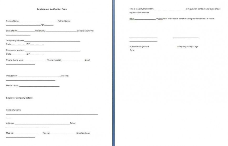 001 Dreaded Employment Verification Form Template Example  Templates Employee Background Authorization Past