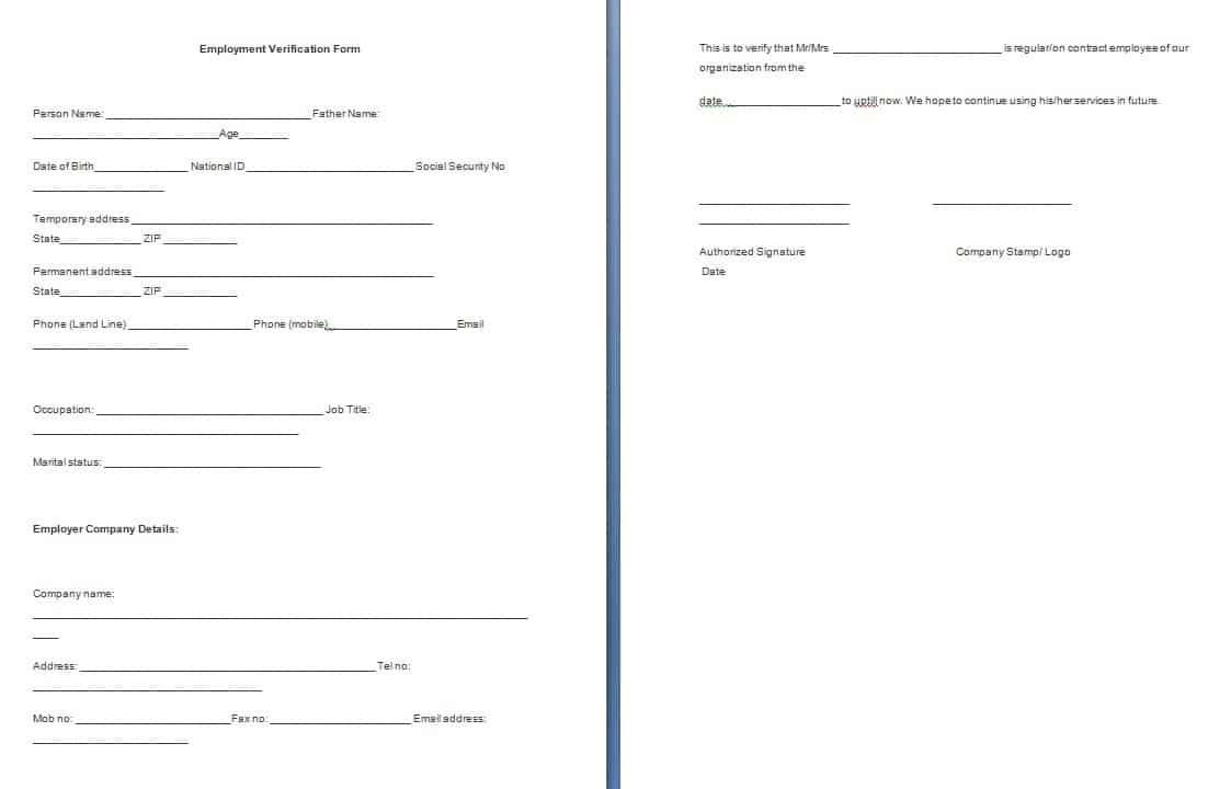 001 Dreaded Employment Verification Form Template Example  Templates Previou Past PrintableFull