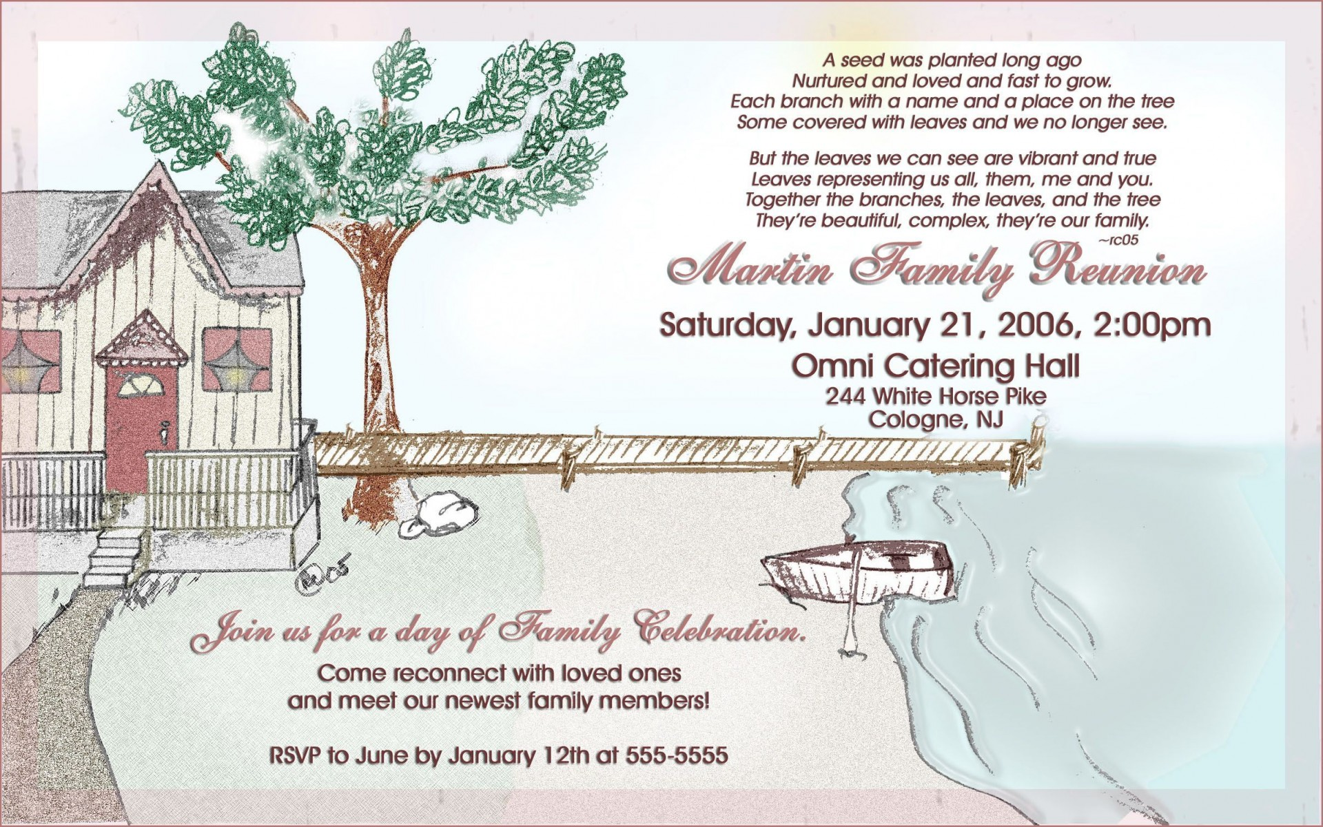 001 Dreaded Family Reunion Invitation Card Template Concept 1920