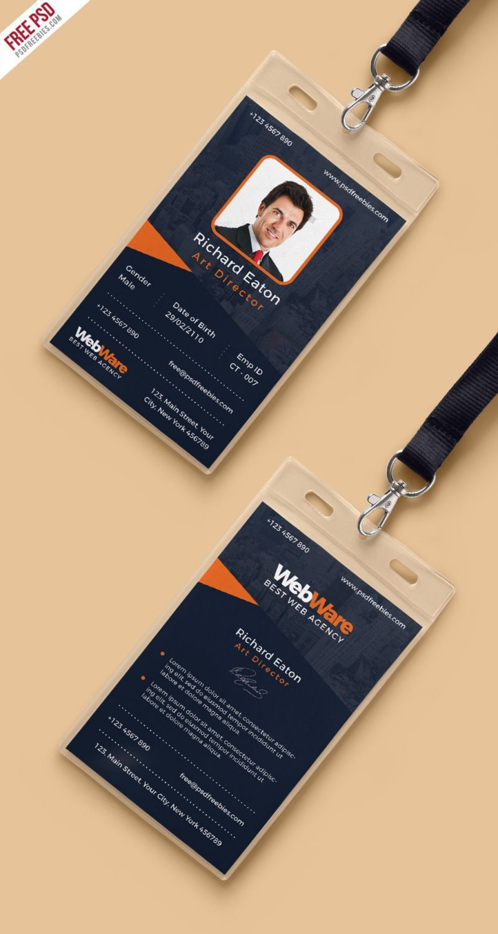 001 Dreaded Id Badge Template Photoshop Photo  EmployeeLarge