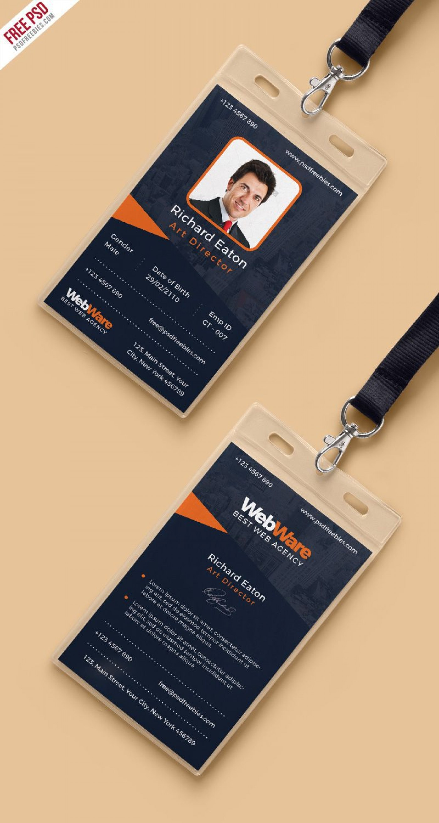 001 Dreaded Id Badge Template Photoshop Photo  Employee1400