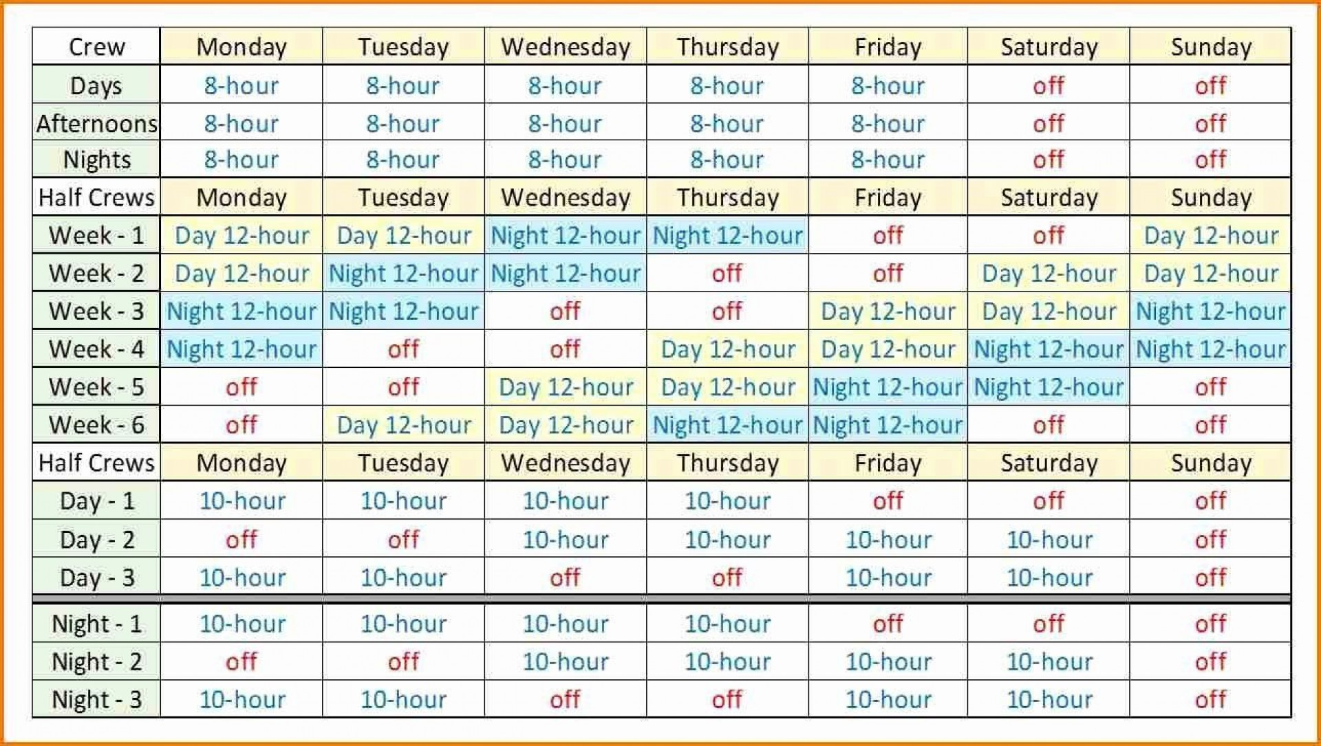 001 Dreaded Rotating Work Schedule Example Picture  Examples Shift1920