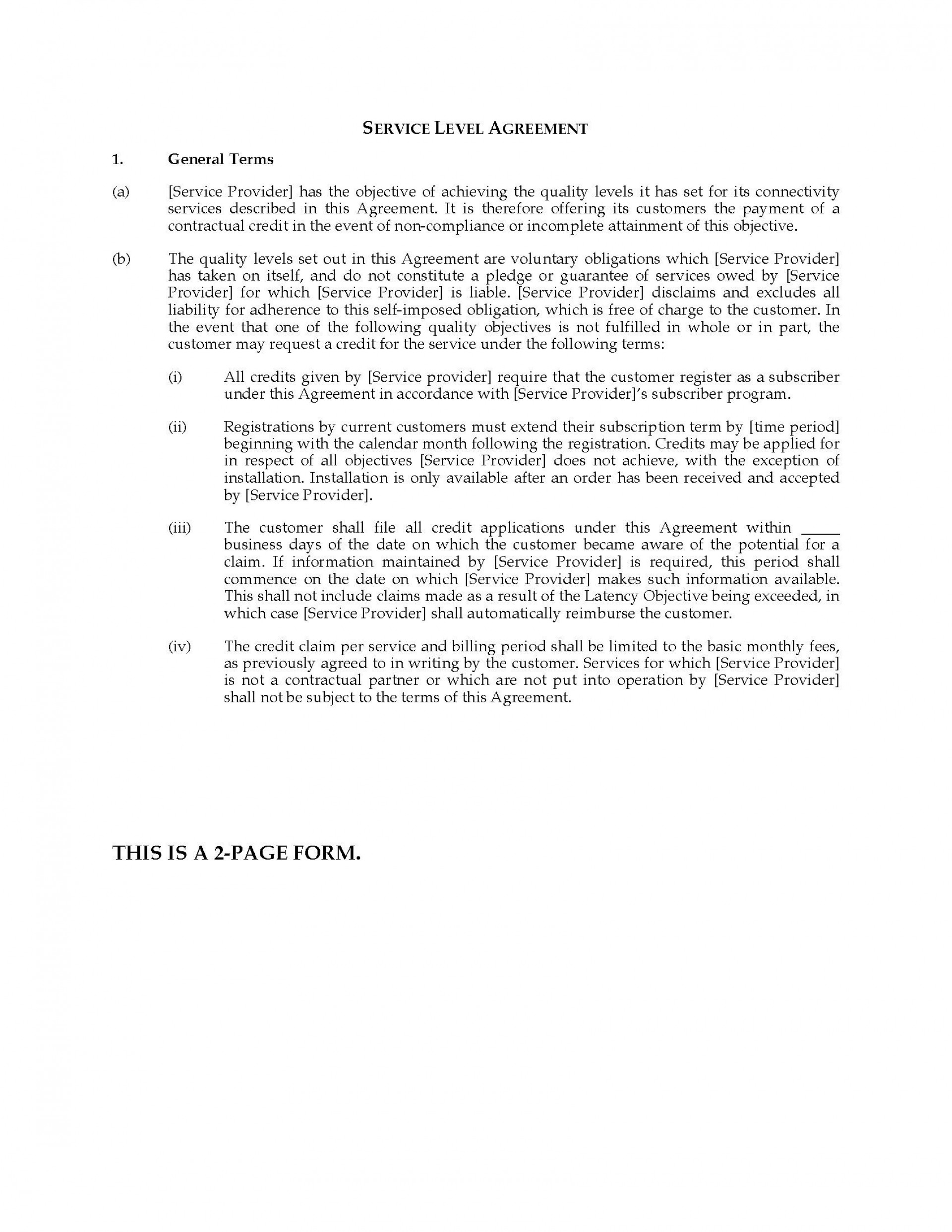 001 Dreaded Service Level Agreement Template Example  South Africa Nz For Website Development1920