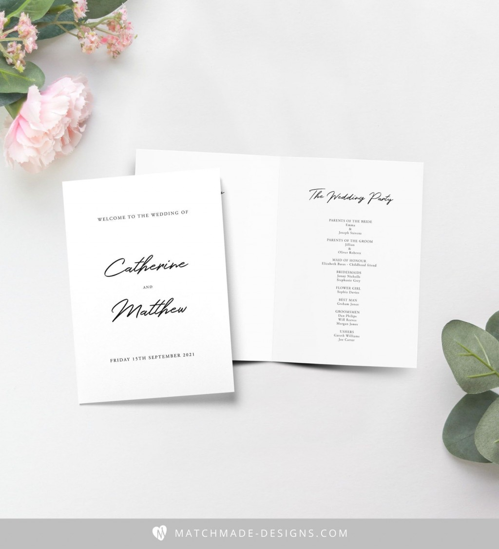 001 Dreaded Wedding Order Of Service Template Pdf Design Large