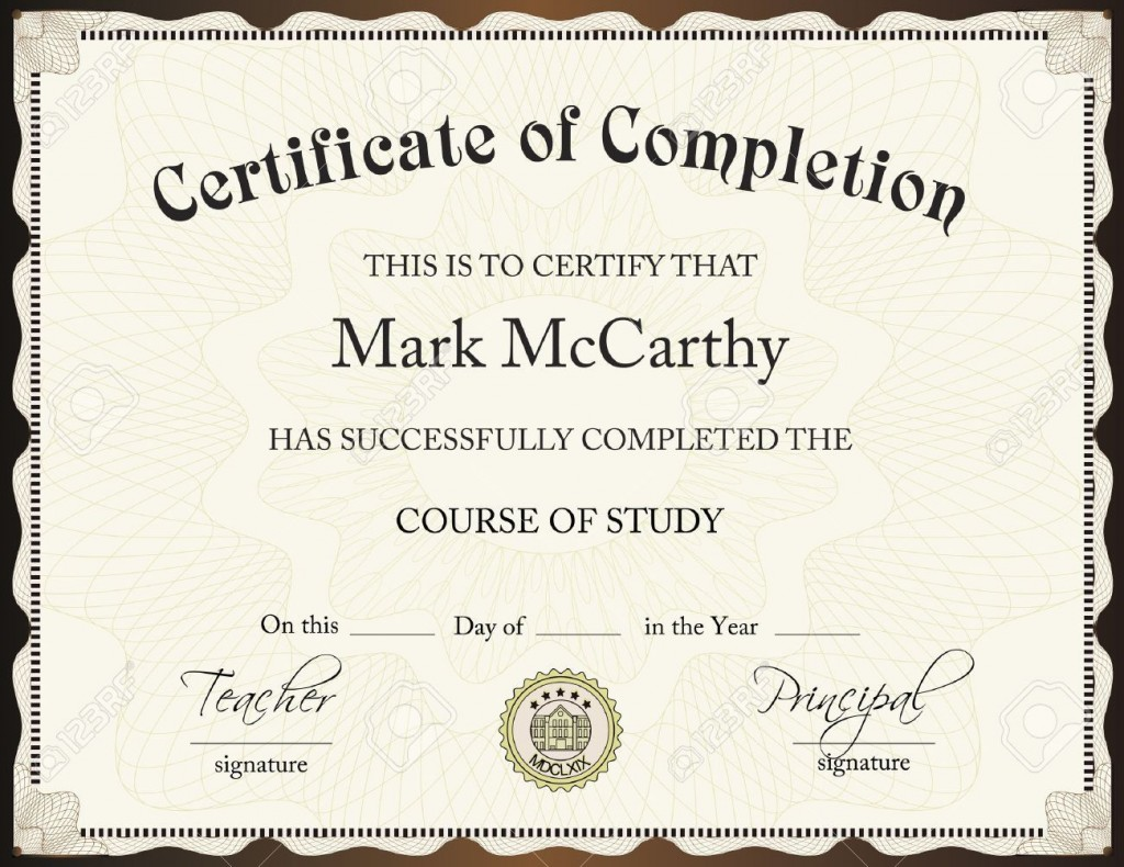 001 Excellent Certificate Of Completion Template Free Sample  Training Download WordLarge