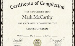 001 Excellent Certificate Of Completion Template Free Sample  Training Download Word