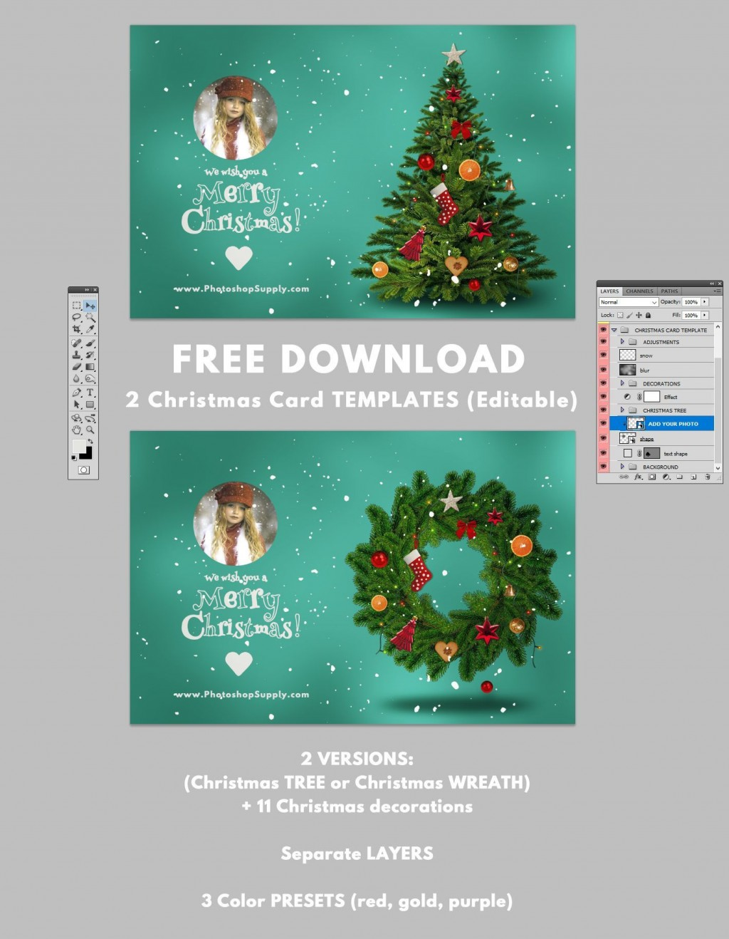 001 Excellent Christma Card Template Photoshop Picture  Free Download FunnyLarge