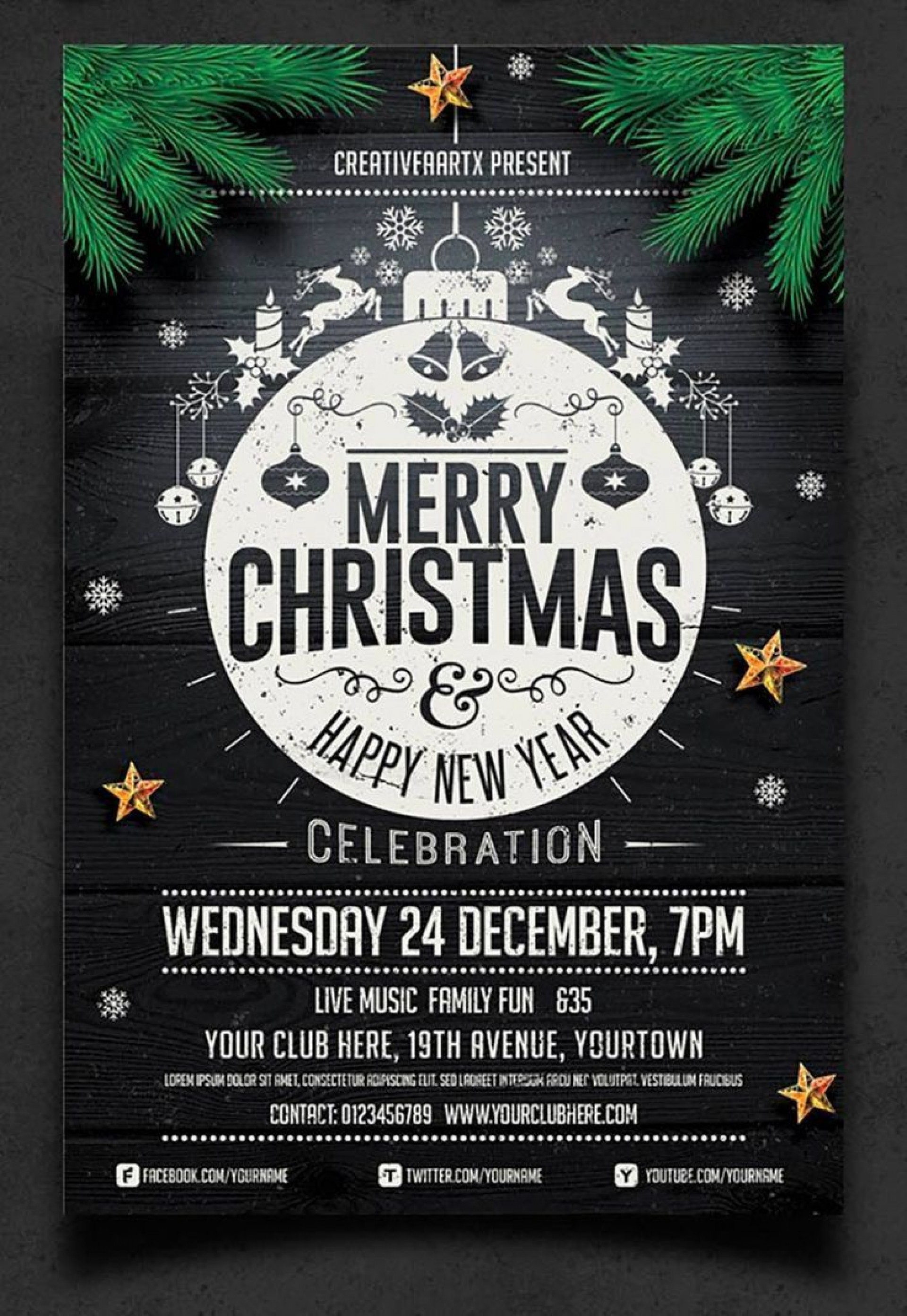 001 Excellent Christma Party Flyer Template Free Highest Clarity  Company Invitation Printable Word1920