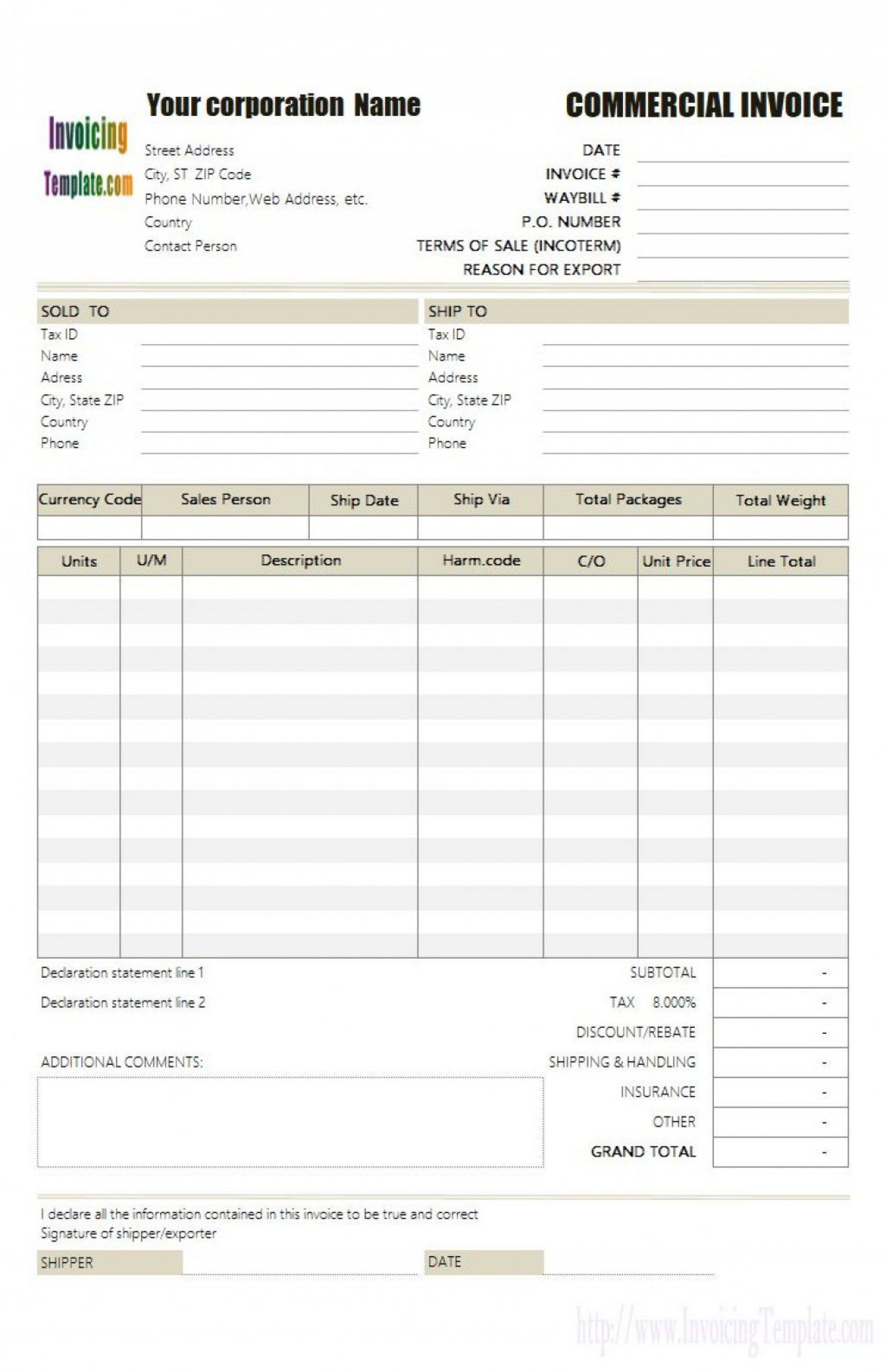 001 Excellent Commercial Invoice Template Excel High Resolution  Free Download1920