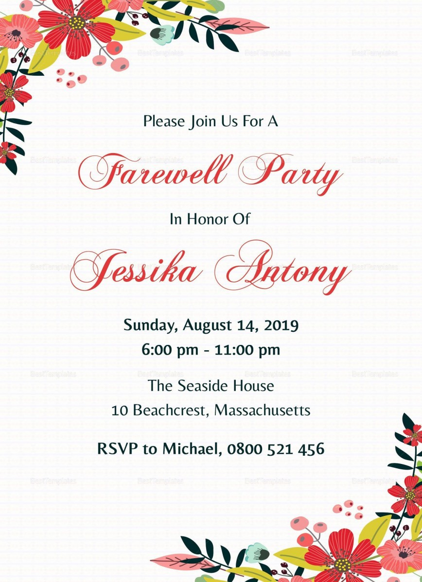 001 Excellent Farewell Party Invitation Template Free Photo  Word Printable Card