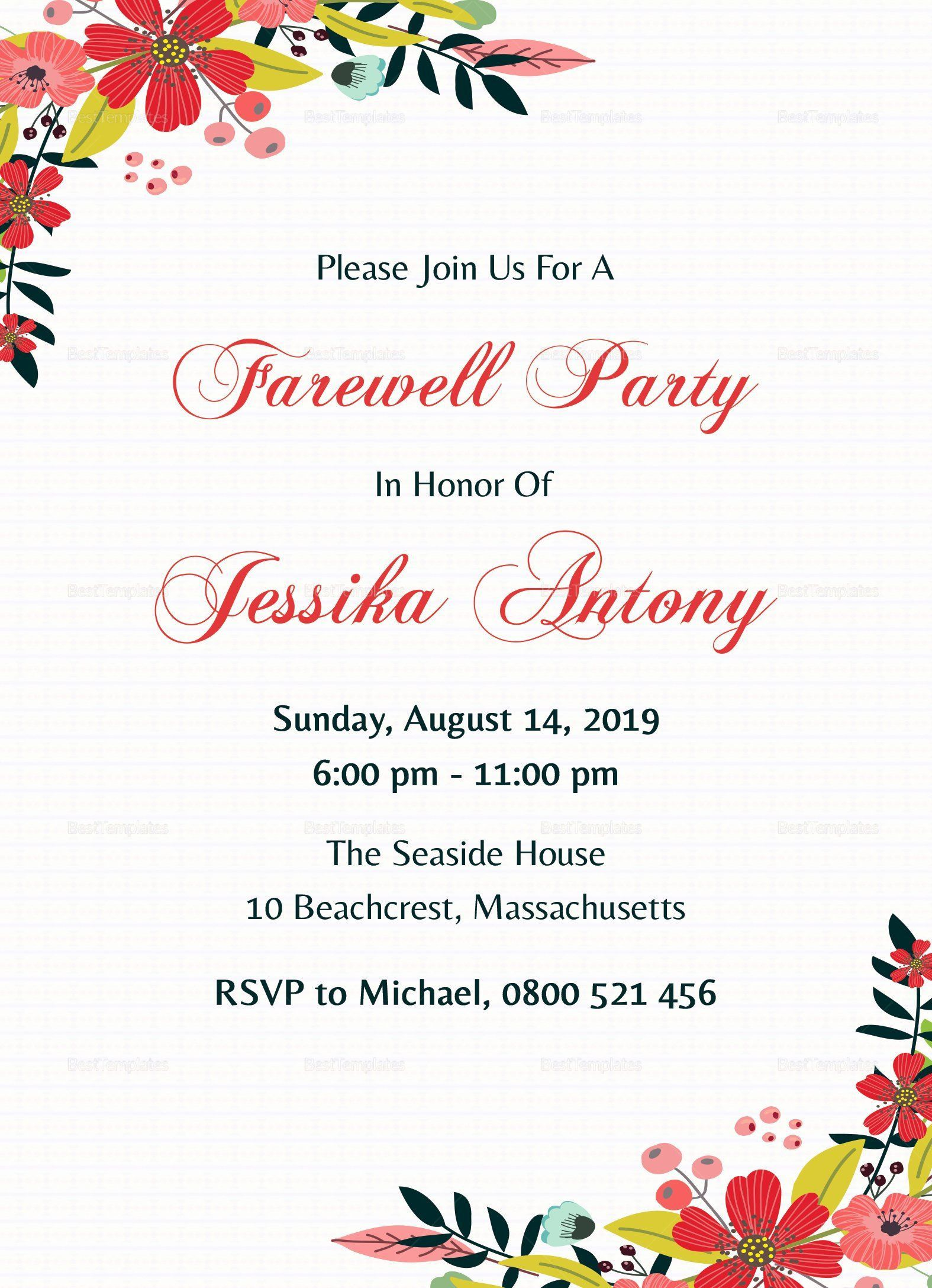 001 Excellent Farewell Party Invitation Template Free Photo  Email Printable WordFull