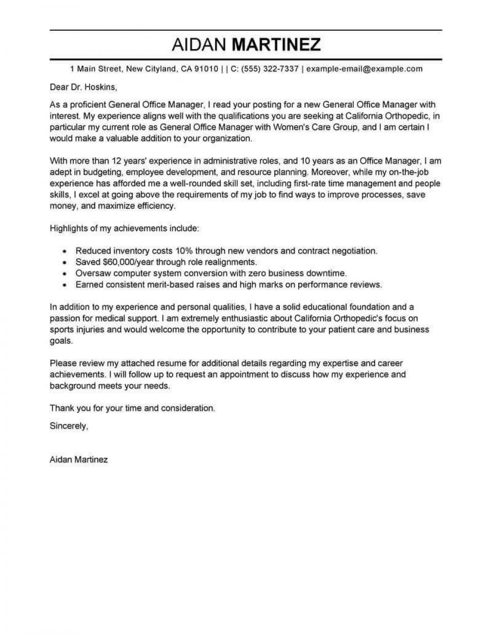 001 Excellent General Manager Cover Letter Template Sample  Hotel960