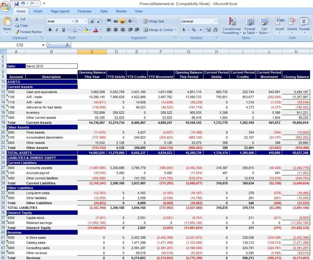 001 Excellent Monthly Income Statement Format Excel Free Download Design Full