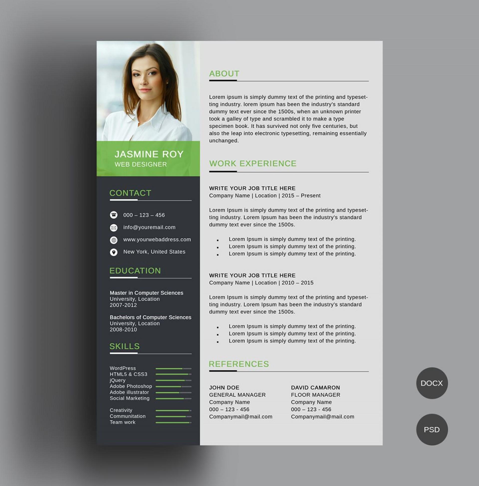 001 Excellent Photoshop Resume Template Free Download Design  Creative Cv Psd1920