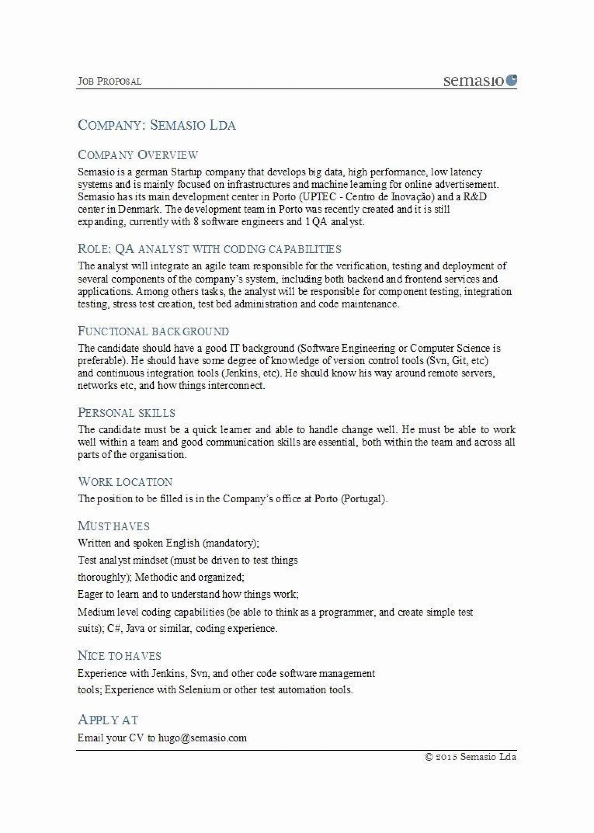 Sample Job Proposal Template Addictionary
